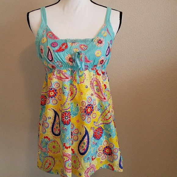NWT Scanty Bright Mixed Pattern Pajama Top SZ Med b343d1e4d